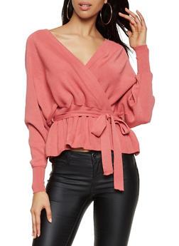Tie Waist Faux Wrap Sweater - 3403062702793