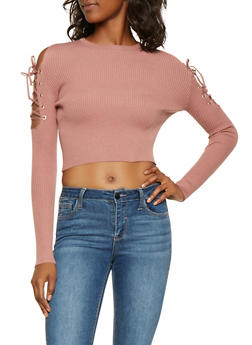 Lace Up Sleeve Cropped Sweater - 3403072290100