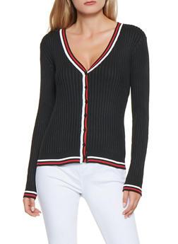 Contrast Trim Ribbed Knit Cardigan - 3403072290106