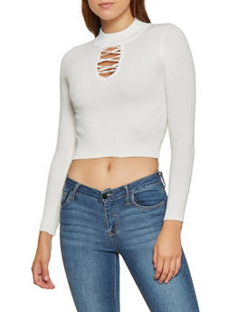 Caged Neck Cropped Sweater - 3403072290109