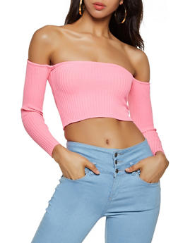 Ribbed Off the Shoulder Crop Top - 3403072298244