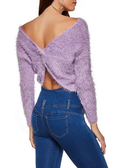 Feathered Knit Twist Back Sweater - 3403075390081