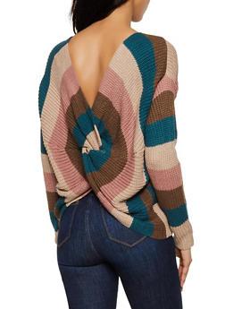 Striped Twist Back Sweater - 3403075392020