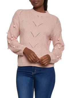 Pom Pom Sleeve Sweater - 3403075392121
