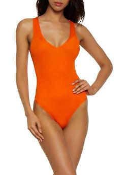 Ribbed V Neck Sleeveless Bodysuit - 3405038209004