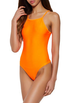 Square Neck Spandex Bodysuit - 3405061354004