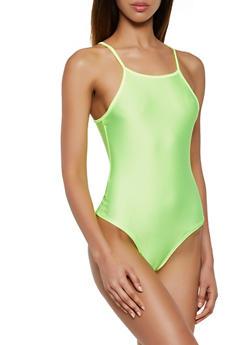 Square Neck Spandex Bodysuit - 3405061354004