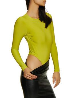 Long Sleeve Keyhole Back Thong Bodysuit - 3405062703068