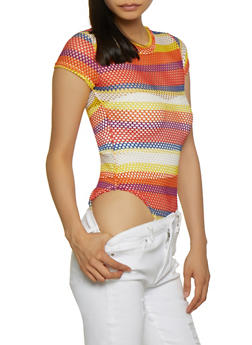 Multi Color Striped Fishnet T Shirt Bodysuit - 3405063400090