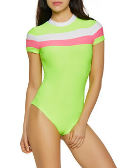 Color Block Trim Bodysuit - 3405063402579