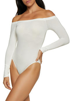 Off the Shoulder Long Sleeve Bodysuit - 3405066493357