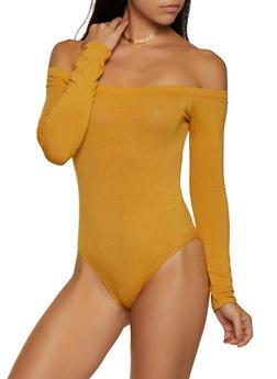 Off the Shoulder Long Sleeve Bodysuit - 3405066493357