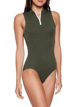 Sleeveless Zip Neck Bodysuit - 3405066493675