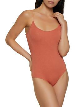 Solid Elastic Strap Cami Bodysuit - 3405066495668