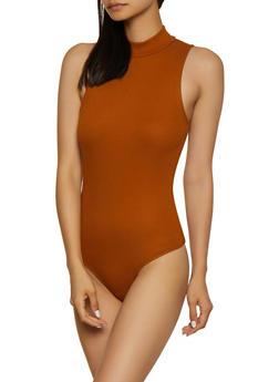 Rib Knit Mock Neck Sleeveless Bodysuit - 3405066496705