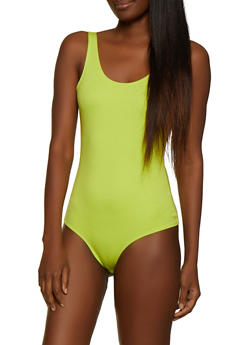 Solid Scoop Back Thong Bodysuit - 3405068193347