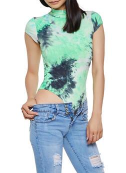 Soft Knit Tie Dye Thong Bodysuit - 3405068510225