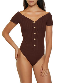 Ribbed Button Detail Bodysuit - 3405069390121