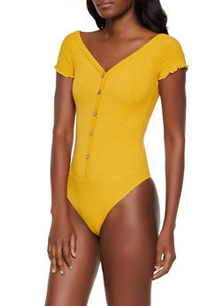 Ribbed Button Detail Bodysuit - 3405069390121