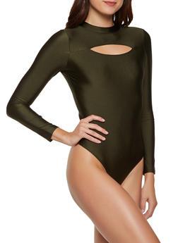 Keyhole Spandex Thong Bodysuit - 3405069390261