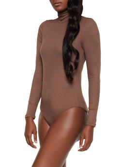 Ribbed Turtleneck Bodysuit - 3405069390292