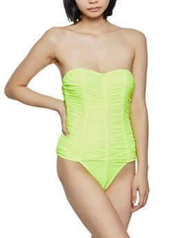 Ruched Mesh Bodysuit - 3405069390335
