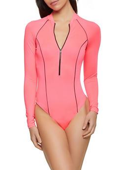 Zip Front Long Sleeve Bodysuit - 3405069390532