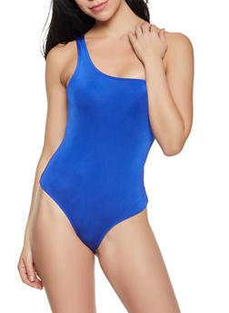 One Shoulder Spandex Bodysuit - 3405069390544