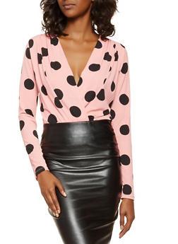 Polka Dot Faux Wrap Bodysuit - 3405069391242