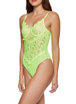 Mesh Back Lace Bodysuit - NEON LIME - 3405069391584