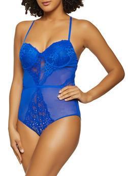 Keyhole Back Padded Lace Bodysuit - 3405069391605