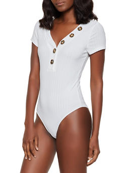Button Detail Ribbed Bodysuit - 3405069393192