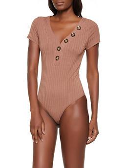 Button Detail Ribbed Bodysuit - 3405069393192