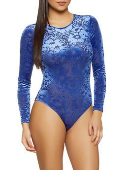 Floral Velvet Burnout Bodysuit - 3405069393741