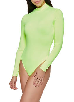 Long Sleeve Thong Bodysuit - NEON LIME - 3405069393760