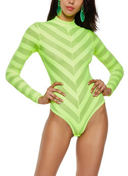 Shadow Stripe Mock Neck Bodysuit - 3405069393830