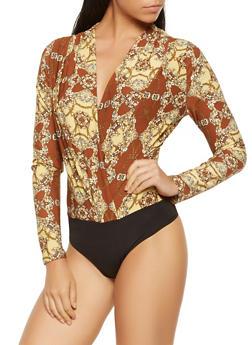 Printed Faux Wrap Bodysuit - 3405069394323