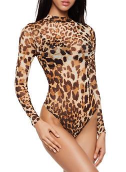 Leopard Mesh Thong Bodysuit - 3405069399019
