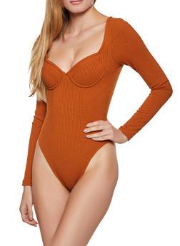 Ribbed Knit Bustier Bodysuit - 3405069399032