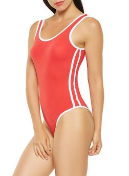 Contrast Trim Bodysuit - 3405072240128