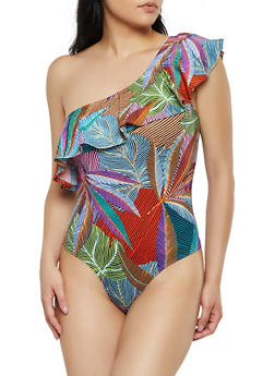 Abstract Leaf Print One Shoulder Bodysuit - 3405072241099