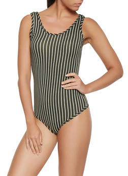 Vertical Stripe Soft Knit Bodysuit - 3405072246119