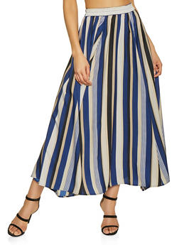 Striped Maxi Circle Skirt - 3406056126661