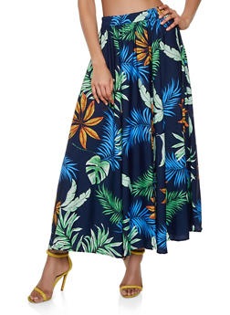 Tropical Print Maxi Skirt - Blue - Size S - 3406056126662