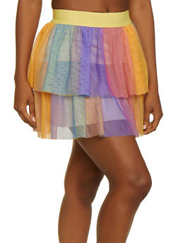 Rainbow Mesh Mini Skater Skirt - 3406058756604