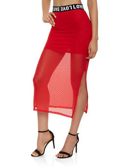 Love Graphic Trim Mesh Maxi Skirt - 3406066492722