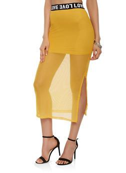 Love Graphic Trim Mesh Maxi Skirt - 3406066492722