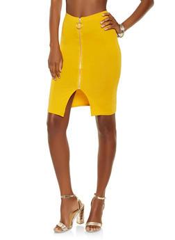 Zip Up Pencil Skirt - 3406066492899
