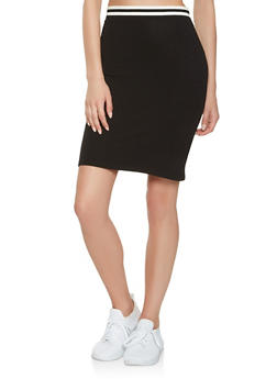 Striped Band Pencil Skirt - 3406066493266