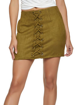 Lace Up Faux Suede Mini Skirt - 3406068191185